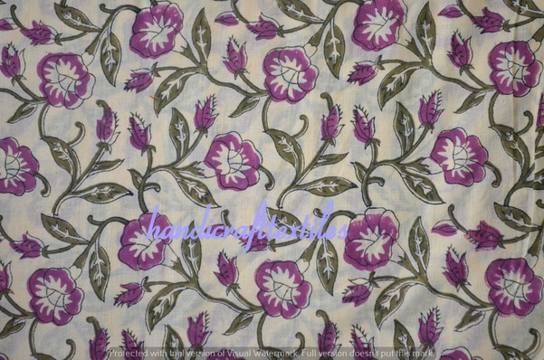 Floral Indian Cotton Fabric Ru