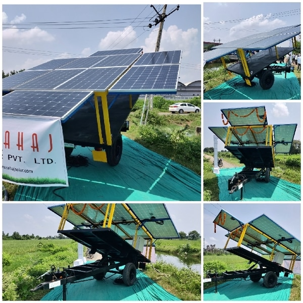 2 Wheeled Tractor drawn trailer t generate electricity from Solar panels. This electricity will be used by farmers for irrigation of water from Canals. Maniar Solar trailer is designed in such a way, all panels are folded during transport mode.