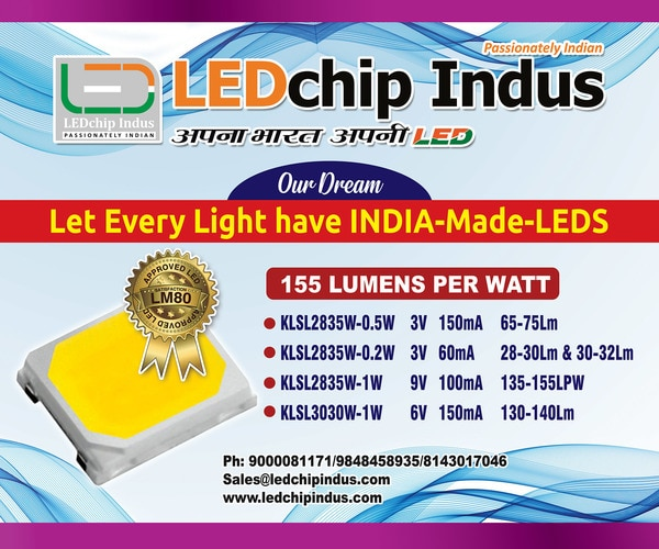 LEDchip Indus holds the dream dearly - that - LET EVERY LED LIGHT HAVE A INDIA-MADE-LED inside. LEDchip launched SMD LEDs 2835 package made of advance LED chip, Substrate & Materials inside, which result in brightness exceeding all the SMD LEDs in its class - all at a surprising PRICE point. The 9V 100mA 1 Watt LEDs at 5700K, 6000K, 6500K range with CRI of Ra80 deliver a 140 lumens. The WHITE LEDs from KWALITY are POWER LEDs with High reliability, Anti Sulfuration, Low Depreciation, LM80 approved. Main applications are 5STAR Bulbs , Batons & Panels & Street Lights. Send your enquiry mentioning the quantity to obtain best prices GVRao 9848458935 sales@LEDchipindus.com Making EXCELLENT LEDs in India since 1987. India's LEADER in LED manufacture with LM80, CDOT, CACT and BIS certifications.