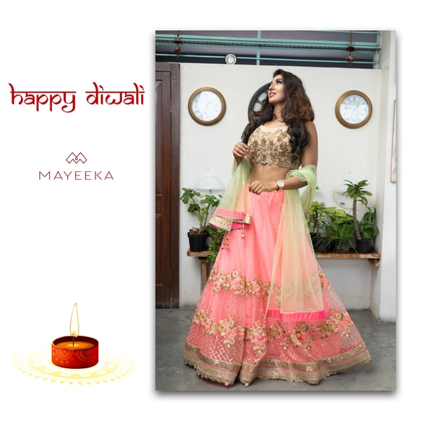 With the gleam of DiyasAnd echo of chant The Colourful dresses And lots of sweets Mayeeka wishes you a Diwali full of happiness and prosperity.