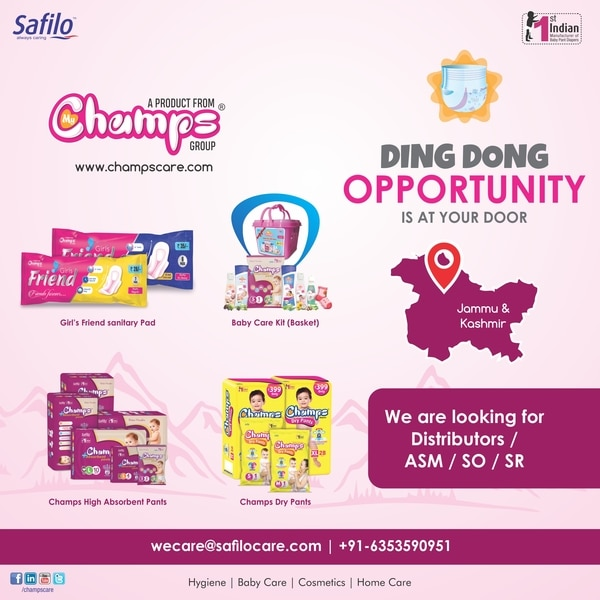 Ding Dong! Opportunity is at your Door. We are looking for Super Stockist , Dealer for our Supply Chain in Whole Jammu & Kashmir. We have also Opening for ASM, SO, SR for Jammu & Kashmir Region. For Whatsapp: http://bit.ly/2BqCxluwecare@safilocare.com+91-6353590951#Champs #Diapers #JnK #Jammu #Kashmir #JammuKashmir #SupplyChain #Dealer #Distributors #Business #Supply #Recruitment #ASM #SR #SO #Sales #Employment #Job