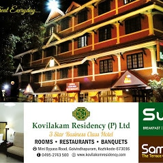 KOVILAKOM RESIDENCYSpacious and well maintained rooms are well equipped with amenities like air conditioning, mineral water, newspaper, wake-up call, hair dryer, television and attached bathrooms with essential bathroom amenities and toiletries. We Are Offering  wide range of vegetarian and non-vegetarian delights, the hotels multi-cuisine restaurant is a delight for foodies. It also features a business center for those on business tour to organize meetings and seminars.