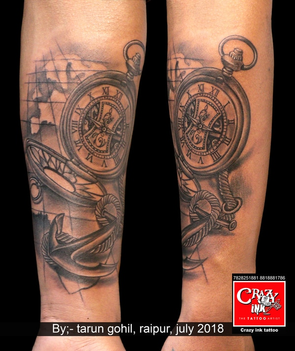 WATCH TATTOO WITH ANCHOR AND M