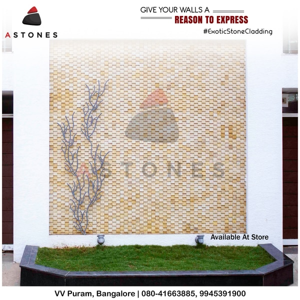 WALL CLADDING - THIS IS HOW YOU CAN MAKE EVEN A SIMPLE COMPOUND WALL TO LOOK ELEGANT AND NEAT WITH WALL CLADDING STONES. ANY TYPE ANY DESIGN ON ANY STONE CAN BE DONE AND EXECUTED BY US.