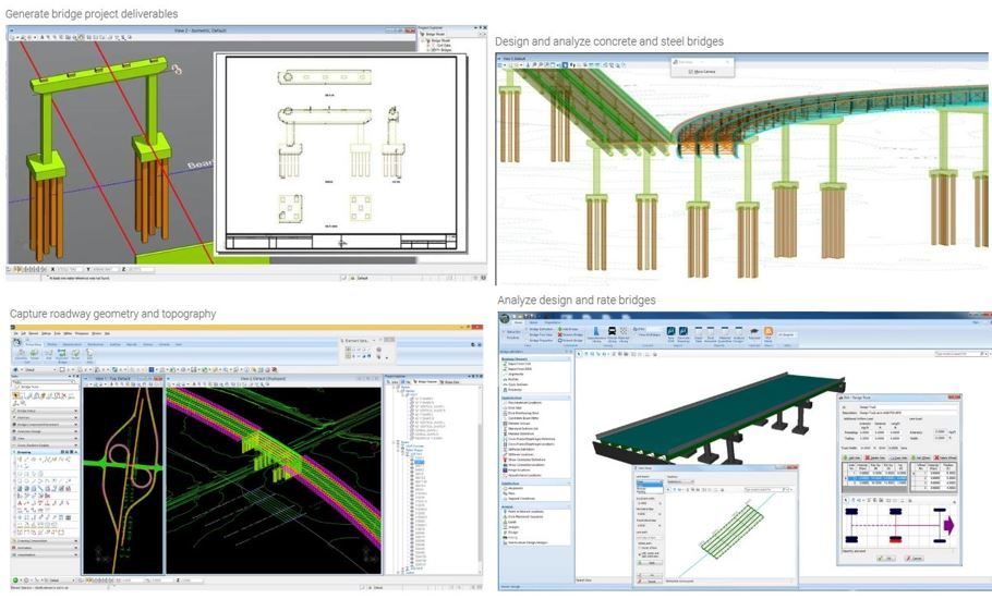 OPENBRIDGE DESIGNER-OPENBRIDGE DESIGNER IS A UNIQUE APPLICATION THAT COMBINES MODELING, ANALYSIS, AND DESIGN INTO ONE COMPREHENSIVE BRIDGE PRODUCT. THE  APPLICATION UTILIZES THE MODELING CAPABILITIES OF OPENBRIDGE MODELER AND THE ANALYSIS AND DESIGN FEATURES OF LEAP BRIDGE CONCRETE AND LEAP BRIDGE STEEL TO MEET THE DESIGN AND CONSTRUCTION NEEDS OF BOTH CONCRETE AND STEEL BRIDGES. WITH OPENBRIDGE DESIGNER, YOU HAVE THE ADVANTAGE OF USING A SINGLE COMPREHENSIVE PACKAGE FROM BEGINNING TO END OF ANY BRIDGE DESIGN PROJECT. YOU CAN USE ONE PRODUCT TO CREATE AN INTEROPERABLE PHYSICAL AND ANALYTICAL MODEL FOR BOTH STEEL AND CONCRETE BRIDGES THAT CAN BE UTILIZED THROUGHOUT THE LIFECYCLE OF THE BRIDGE.CAPABILITIES-1.	Analyze, design, and rate bridges2.	Capture roadway geometry and topography3.	Coordinate multi-discipline bridge teams4.	Design and analyze concrete bridges5.	Design and analyze steel bridges6.	Generate bridge project deliverables7.	Interoperate with detailing applications8.	Manage bridge project changes9.	Perform bridge clash detection10.	Publish i-models11.	Sequence construction and phasing12.	Visualize bridge designs