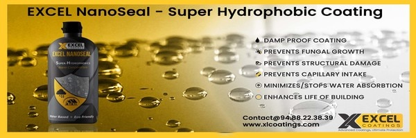 Water repellent coating in KochiWater repellent coating EXCEL NanoSeal does not seal the pores at the surface of concrete. Instead, it penetrates into the pores and forms a very thin (nano) layer on the pore walls. Waterproof coating in KochiWater repellent coating in KochiHydrophobic coating in KochiWaterproof coating for cement surfaces in KochiLeak proof coating in KochiSeepage prevention coating in Kochi