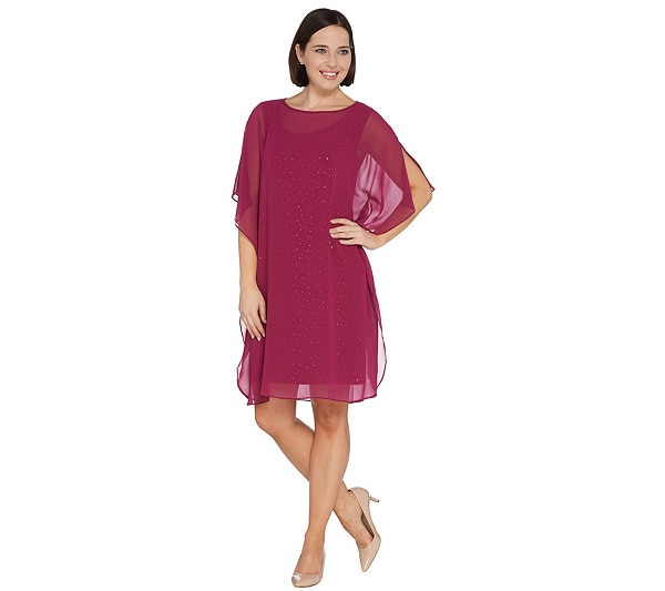 Sparkle Knit Dress with Chiffo