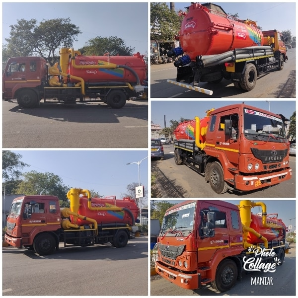 Maniar make High Flow Suction Machine / Super Sucker. 9000 liter sludge Tank capacity, Imported make tri-lobe blower with Blowback system. Jurop make Suction pump, drive taken from PTO.The equipment is mounted on Eicher Chassis. Other models also available on TATA-, ASHOK LEYLAND, MAHINDRA, BHARAT BENZ.