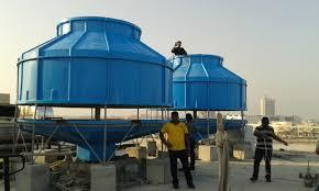 Cooling Tower Manufacturer A cooling tower is a specialized heat exchanger in which air and water are brought into direct contact with each other in order to reduce the water's temperature. As this occurs, a small volume of water is evaporated, reducing the temperature of the water being circulated through the towerTypes Of Cooling Tower Round Type Cooling Tower Square Type Cooling TowerFRP Model Cooling TowerWooden Cooling Tower Induced Draft Cooling Tower Have Available In Mulitiple Size as Per the Customer Requirements