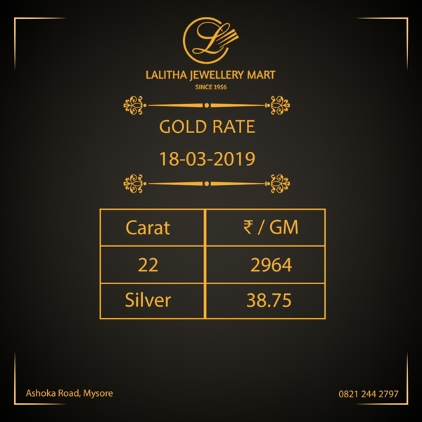 Gold rate - Rs 2, 964/- per gm