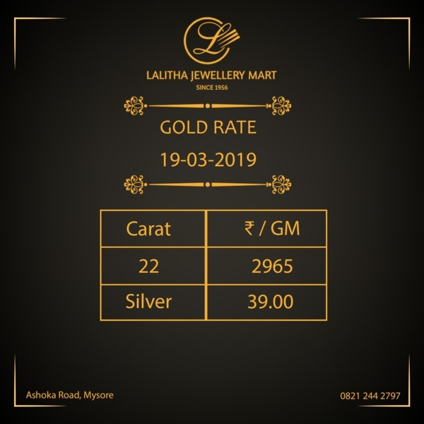 Gold rate - Rs 2, 965/- per gm