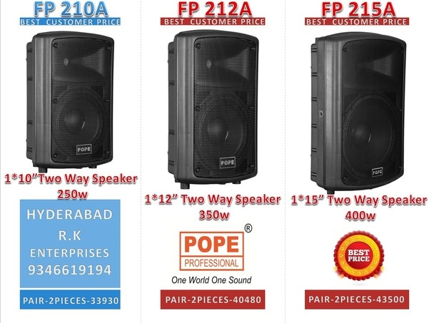 POPE Professional FP series high quality active (powered) speakers provides, professional sound performance with a reasonable price ratio. It has been designed to meet the requirements of musicians and DJs. As a result of its three band equalizers sound set-up, it offers the best possible characteristics of sound reinforcement for live music as well as playback or speech. The new, more compact multi-functional cabinet creates an ideal connection between acoustic necessity and practical handling.The POPE Professional's active speaker offers maximum flexibility and unique features such as a slanted rear side for monitor applications, integrated flange for stands, and 3 integrated M10 threaded flying points. The integrated high frequency driver offers a clear dispersion of 90°x60°. The models FP 206A, FP 208A, FP 210A, FP 212A & FP 215A are equipped with a special compression driver. Because of its pure titanium diaphragm, the sound is clear, linear and feedback resistant.Together with the FP 115A, 1*15