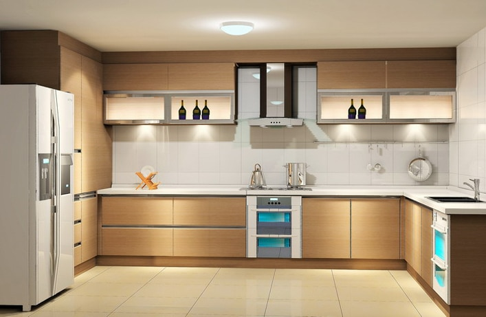 With well-organized working triangle, a U Shaped modular kitchen offer an ideal layout for your kitchen. The space among three walls are designed in such a way so one can bifurcate their tasks properly such as area for cooking, another wall where you can place your kitchen appliances as per your requirement and work zone for dish washing.U Shape modular kitchen is a design where two people can work freely without disturbing their working zones because of availability of plenty of area to walk around. U Shaped modular kitchen is also good for storage as this type of design have lots of space to work around with the accessories and appliances. Corner and Carousel Units, Space for Appliances & accessories, easily working of two cook are the specialty of this U shape modular Kitchen.