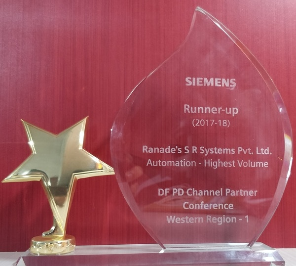 Ranade's S.R Systems Pvt Ltd. is proud to announce that we have been felicitated by Siemens for best performance in highest volume revenue in Automation sector(Western Region-1) for the year 2017-2018.We are thankful to all our valued customer's and well wisher's for their overwhelming support for this achievement. Also hope for the same support for upcoming years.