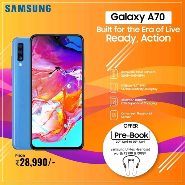 Book Samsung Galaxy A70 now to