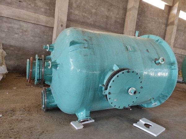 Under pressure vessel for chemical industry made of FRP. This vessel is used for pressure make up in the system. Chemical stored is Hypo - bleaching lye solution. Used is chlor alkali plants at Kota - Rajasthan, veraval - Gujarat, dahej - bharuch, ankleshwar, new delhi, Pune, Hyderabad, Aurangabad, orrisa,