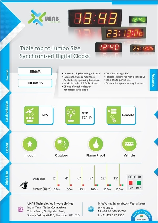 Digital clocks Master Slave Synchronized NTP wifi industrial Grade jumbo size clocksUNAB supplies industrial grade custom design digital clocks which maintains the same synchronized time all over the permises