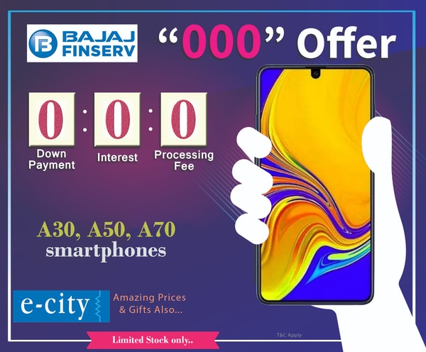ECITY announced Bajaj Triple Zero offer for mobile lovers. Buy Samsung A30, A50, A70 smartphone with Zero Down payment. Hurry Up! Limited Stock available. #SamsungA30 #SamsungA50 #SamsungA70 #Bajajfinserv #Triplezerooffer