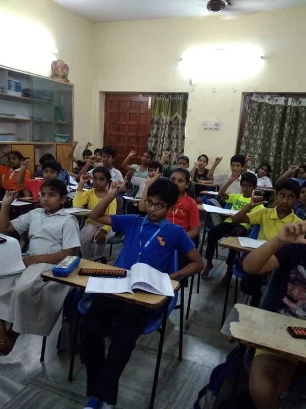 Children doing Abacus class..m