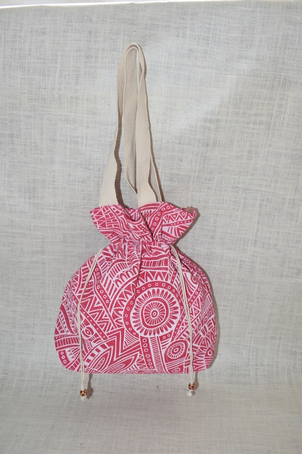 Jute Two String Hand Bag, Hand