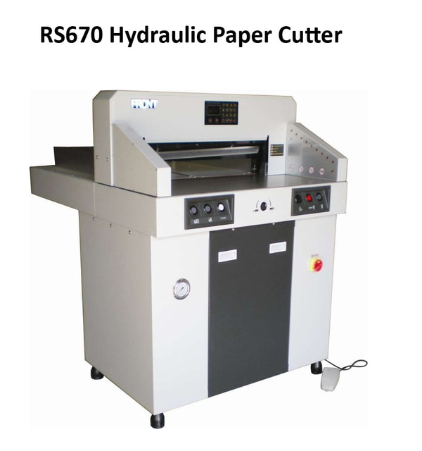 Hydraulic Paper Cutter Machine dealers in BangaloreR.S.Marketing and Logistics are the dealers of Hydraulic Paper Cutting Machines in South India.1)Max.Cutting width: 670X670mm2)Max. cutting height: 80mm3)Min.Cutting depth: 30mm4)Precision: + 0.3mm5)Clamp paper: Hydraulic6)Push paper:Hydraulic7)Cutting length behind knife:520mm8)Table length in front knife:420mm9)Safely:IR Bar10)Power:AC 220V/ 110V±10%11)50HZ(60HZ) 2200W12)Shipping Dimension(mm): 1400Xl l OOX l 480mm13)Gross Weight :415KGSvisit:www.rsmarketing.co.in
