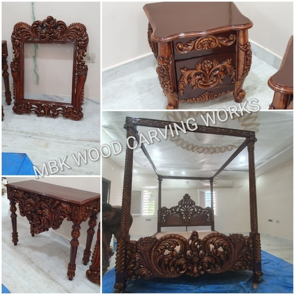We are the best manufacturers of supplier wooden bed and dressing table best hand carving work in the city manufacturers by well experienced carpenters as per the customers requirements for future details contact 9395541344