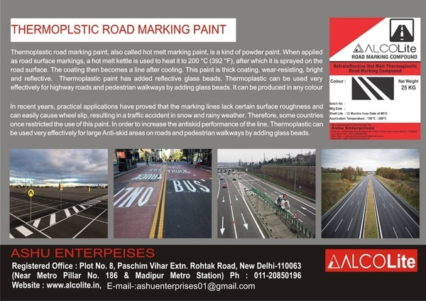 Tharmopastic Road Marking PaintAlcolite Manufacturer and supplies a full line of durable tharmopastic paint . Also called Hot melt reflective marking paint , is a kind of powder paint .