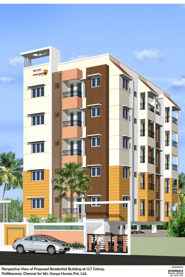 2 and 3 BHK Apartment for sale in IIT Colony, PallikaranaiKanya Sri Sai Pallikaranai Chennai is a residential project. The project offers apartment with perfect combination of contemporary architecture and features to provide comfortable living. The apartments are of the following configurations: 2BHK and 3BHK. The size of the apartment ranges in between 909 to 1280 Sq.ft facilities such as access to terrace using lift, CCTV Surveillance, Power backup with DG and Solar Power Generation. It also offers stilt car parking. It has total of 1 towers. The construction is of 5 floors. An accommodation of 10 units has been provided. Chennai is primarily an end-User driven real estate market. The factors that affect the decision of a buyer are connectivity, proximity to IT companies, the civic infrastructure and presence of amenities in a project. The new developments in the city continue to attract buyers as they can witness a potential in the market. Call us for more details.