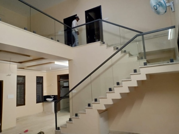 Staircase glass railing..
