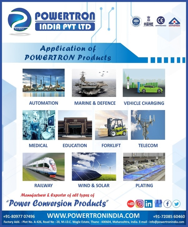 Dear Sir/Madam, It Is An Honor To Be Given The Privilege To Invite You For ELECRAMA 2020 Which Will Be Held At Greater Noida From 18 TO 22 Jan, 2020. Kindly Visit Us On Hall No 2 & Booth No H2D31. Hoping For Your Presence In The Event.POWERTRON INDIA PRIVATE LIMITED For More Detail Please Visit Us At :- Http://Www.Powertron.In Http://Www.Powertronindia.Com Http://Www.Powertronsmps.Co.In Http://Www.Powertronsmps.Com MOB :- +91-80977 07496 | +91-72085 60460 PRODUCT RANGE : SMPS | DC DC CONVERTER | BATTERY CHARGER | DC POWER SUPPLY | EV CHARGER | DC AC CONVERTER | PLATING RECTIFIER | STABILIZER | ADAPTER Etc.