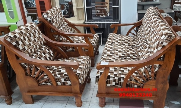 3+1+1 Wooden Sofa Set, Te | Oasis Interiors And Comforts In Chennai, India