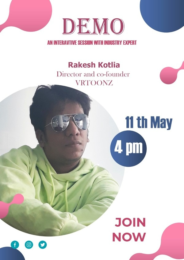 You are invited to Zoom meeting.(Free)Topic: Medical Animation - By Rakesh Kotlia- Director, VRTOONZ Entertainment Pvt LrdTime: May 11, 2020 04:00 PM Mumbai, Kolkata, New DelhiJoin Zoom Meetinghttps://us02web.zoom.us/j/83916710031?pwd=cVZINHhFQmIwaHdtZXVkVDdWT2p3QT09Meeting ID: 839 1671 0031Password: 765323