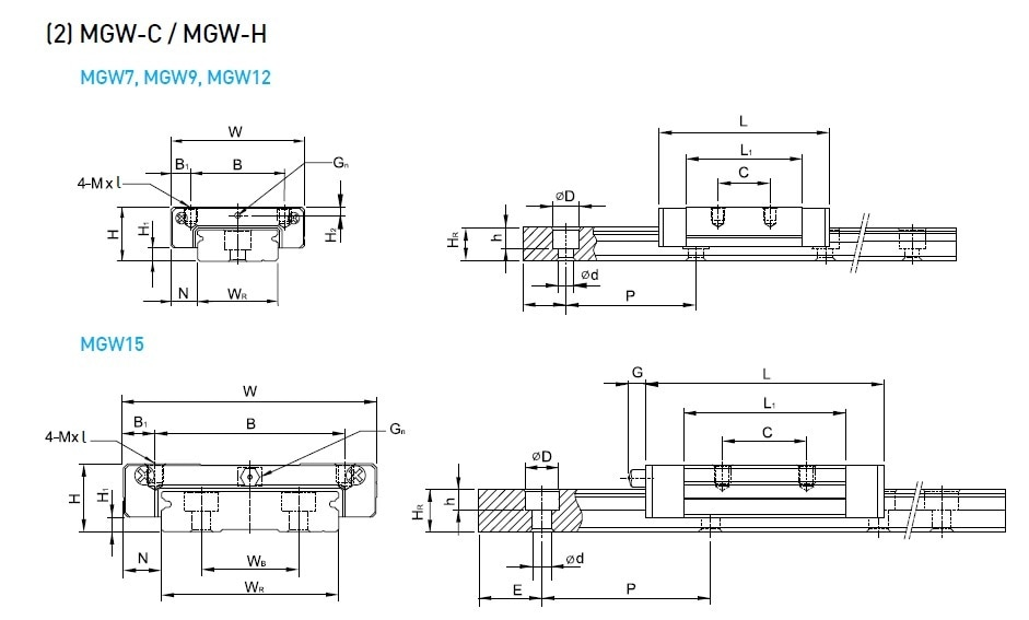 Hiwin MGW -C/H SERIESAvailable MGW7C , MGW9C , MGW12C , MGW15C in standard Block and MGW7H , MGW9H , MGW12H , MGW15H in Long BlockCall us or Email us now