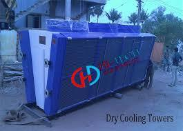 DRY Cooling Tower - Hitech Equipments                 DRY Cooling Tower is used for Diesel Gensets, Air Compressors, Injection moulding machines, Rubber and Tyre Industries, Distilleries, Sugar mills, Fertilizer Plants and Petrochemicals.