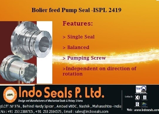 Boiler Feed Pump Seal - ISPL 2419Balanced, stationary multi-spring seal, designed for powerindustry or other high pressure/high speed applications.Using an API Plan 23 system, this seal is used in hotapplications. Today's power generation plants areincreasing the need for higher parameter mechanicalseals for boiler feed and boiler circulating pumps.