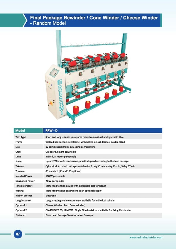 Cone Winding Machine for RotoConerRewinder in Cheese or ConeThread Winding Machine in IndiaCone Winder for Classimate Winder