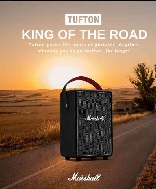 Enjoy  the Power of music Wgere ever you go.... with Tufton, the mightiest portable speaker from Marshall. Tufton packs 20+ hours of portable playtime, allowing you to go further, for longer. Bluetooth 5.0 technology allows you to connect to a variety of wireless devices with a range of 30ft...dealer ...Audiocratz...
