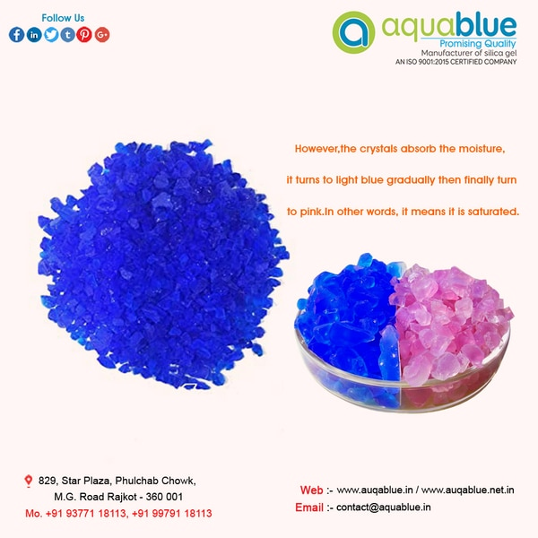 Blue Silica Gel Checkout our huge range of Blue Silica Gel which are used against excess moisture and prevents the growing of harmful growth of mold and fungi. These are made from silicon dioxide that is converted into granular or beaded shapes. They are useful desiccant due to its strong holding water molecules affinity. All these gels are manufactured by our highly skilled workers in latest machine with set industry norms. Blue Silica Gel are widely used in industries and factories to prevent dust and moisture on the surface of the machines. They are tasteless, odorless and non- inert in chemical nature. Further, available in ranges such as indicating gels and beads. These are offered in many different sizes can be customized as per requirement of the client.