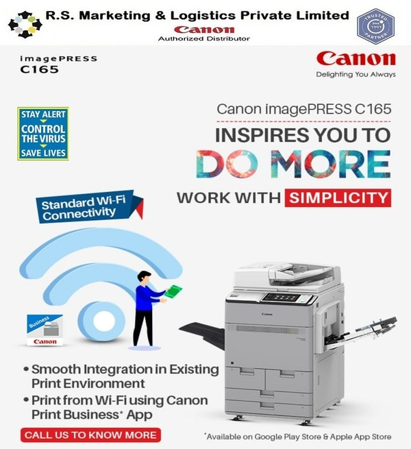 CANON imagePRESS C165R.S.Marketing and Logistics are the best Dealer in South India for Canon Printers.The Canon imagePRESS C165 has the perfect combination of user-friendly interface and patented technologies that ensures professional quality to your colour documents.Whether it is a print shop, Creative Agency or Corporate office, the iPR C165 can make all the differences.