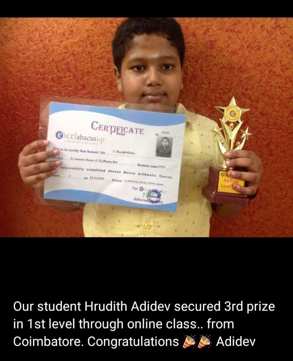 Our student got 3 prize in 1 s